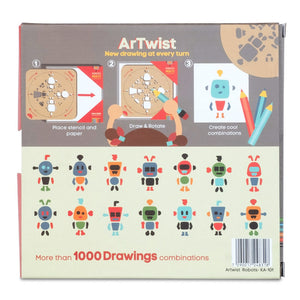 Robots - Rotating Wooden Drawing Stencil Kit for Children | Kipod Toys | Wooden Arts & Crafts Kit | Educational Wooden Toy | Packaging Back | BeoVERDE.ie