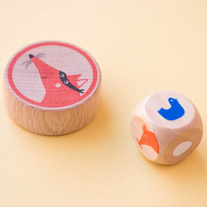 Londji CLUCK, CLUCK! THE FOX! Board Game | Board Game for Kids, Adults & the Whole Family | Close-up: Wooden Dice | BeoVERDE.ie