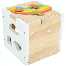 Load image into Gallery viewer, Small Foot Wooden Rainbow Shape Sorter Cube | Baby & Toddler Activity Toy | Cube Empty – Left Side View | BeoVERDE.ie