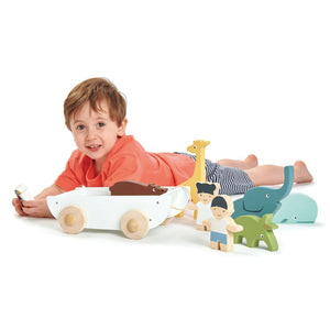 TenderLeaf 'The Friend Ship' | Hand-Crafted Wooden Animal Toys | Boy Playing |BeoVERDE.ie