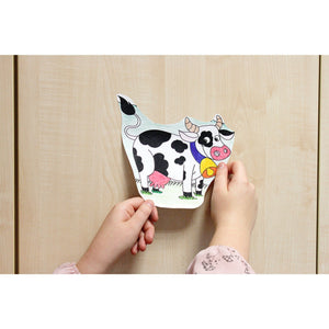 Self-Stick Colouring Book & Roll | Farm Life Adventures | Child sticks Coloured Cow Cut-outs to Furniture | BeoVERDE.ie