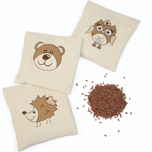 Warming Pillow for Babies | Owl | Organic Flax Seeds and Organic Cotton | Design Variations with Flax Seed Sample | BeoVERDE.ie