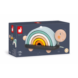 Janod Sweet Cocoon Rainbow Turtle | Scandi Style Wooden Toddler Activity Toy | Packaging | BeoVERDE.ie