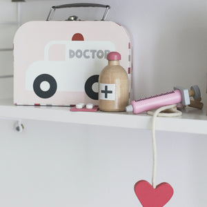 JaBaDaBaDo Doctor's Case Pink | Wooden Pretend Play Toy | Lifestyle – Pink Set on Shelf| BeoVERDE.ie