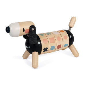 Janod Sweet Cocoon Shapes And Colours Dog | Scandi Style Wooden Toy | Front Left Side Colour Lined-up | BeoVERDE.ie