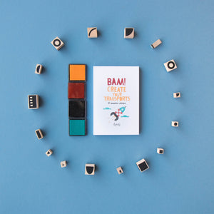 Londji BAM! TRANSPORTS Stamp Set | Creativity Vehicle Stamp Set for Kids | All Stamps, Ink Pads and Notepad | BeoVERDE.ie