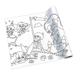 Self-Stick Colouring Book & Roll | Fairyland Adventures | Blank Sheet Partially Rolled Up | BeoVERDE.ie