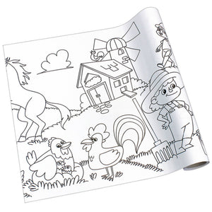 Self-Stick Colouring Book & Roll | Farm Life Adventures | Blank Sheet Partially Rolled Up | BeoVERDE.ie