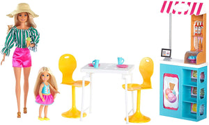 Barbie Ice Cream Cafe Playset with Barbie and Chelsea Dolls.
