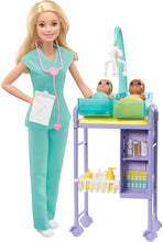 Load image into Gallery viewer, Dr Barbie Baby Doctor Doll Playset for Kids