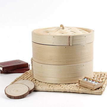 2 Tier Bamboo Steamer Dim Sum Basket Rice Pasta Kitchen Food Steaming Tools