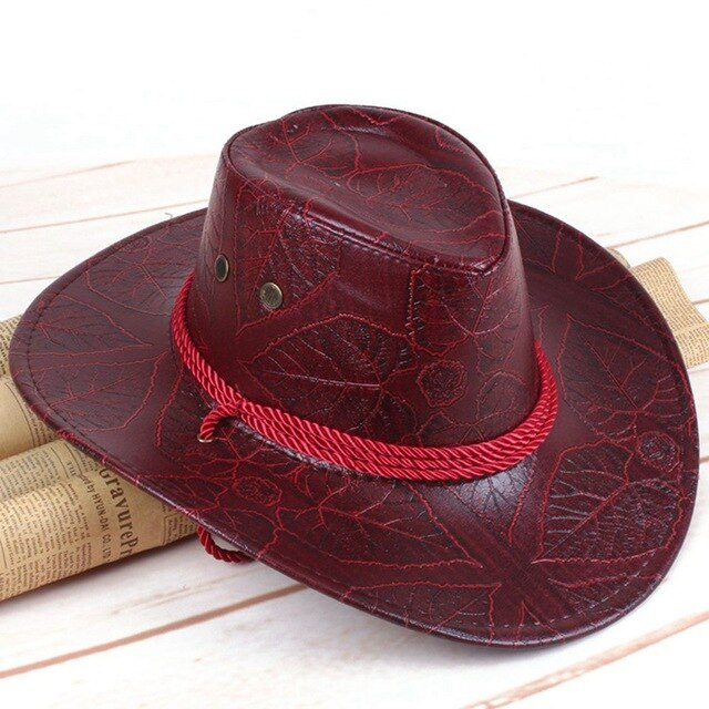 Classical Western Cowboy Hat For Men Women PU Leather Wide Brim Outdoor Sunhat With Adjustable Lace-Up Breathable Holes