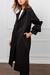 Modern Folded Collar Black Ruffle Sleeve Pocket Long Sleeve Coat