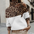 Fashion High Collar Stitching Leopard Off-the-shoulder Sweater