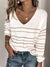 Women's Long Sleeve V-neck Striped Casual Knit Top