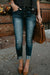 High Waist Casual Ripped Holes Skinny Jeans
