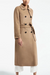 Elegant fold-over collar camel long-sleeved belt button coat
