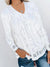 Lace V-Neck Color Long Sleeve T-Shirt