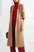 Fashion fold collar camel long sleeve coat