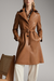 Fashion Fold Over Collar Single-Breasted Belted Coat