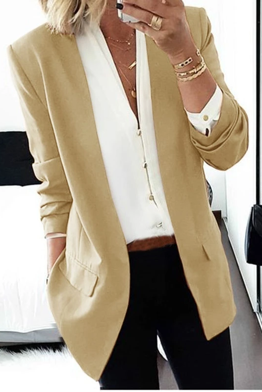 Brief Long Sleeve Pure Colour Loose Women Medium Blazer