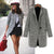 Women's One Button Houndstooth Tweed Coat