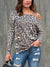 Women's Fashion Leopard One Shoulder Drop Sleeve T-Shirt