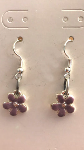 Small Purple Enamel Flower Earrings