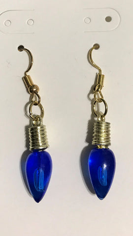 Blue Christmas Light Earrings