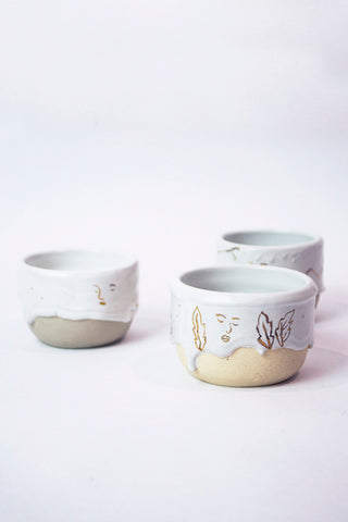 Gold and White Drippy Cups