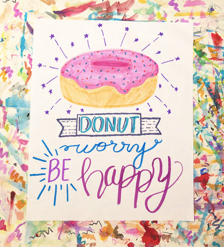 Donut Worry - Hand Lettering Template
