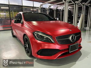 MERCEDES BENZ CAR WRAP - CHROME MATTE RED VINYL