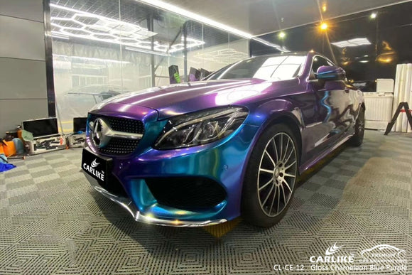 MERCEDES BENZ CAR WRAP - GLOSS CHAMELEON ELECTRO METALLIC LIGHT BLUE TO PURPLE VINYL