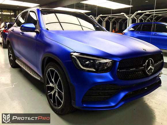 MERCEDES BENZ CAR WRAP - CHROME MATTE BLUE VINYL