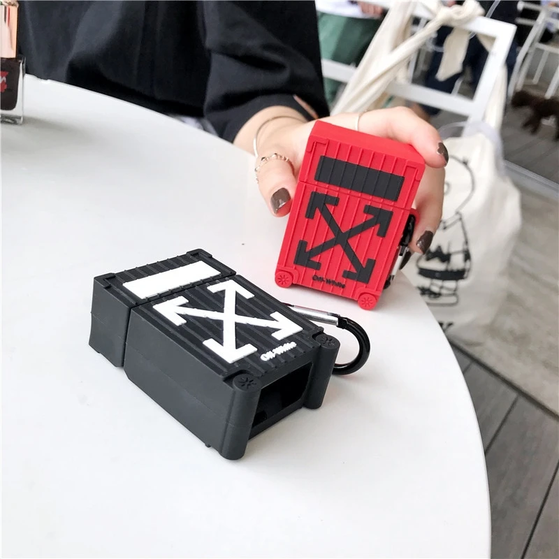 Off-White Luggage Airpods Case - PodsDrip