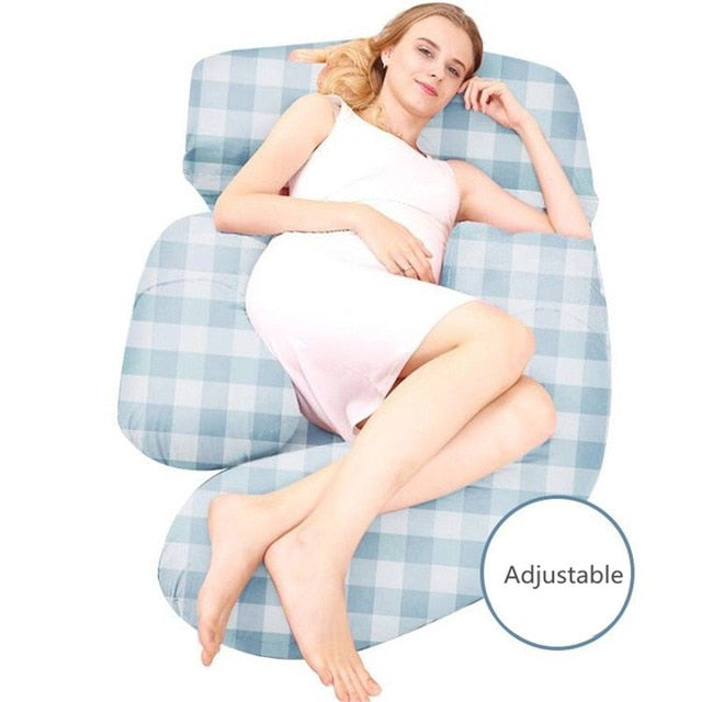 Cover for Big Multi-functional Maternity Pillow Blue check - thedreamwow