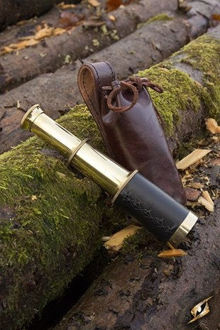Telescope With Leather Pouch - Brass - Avothea Store