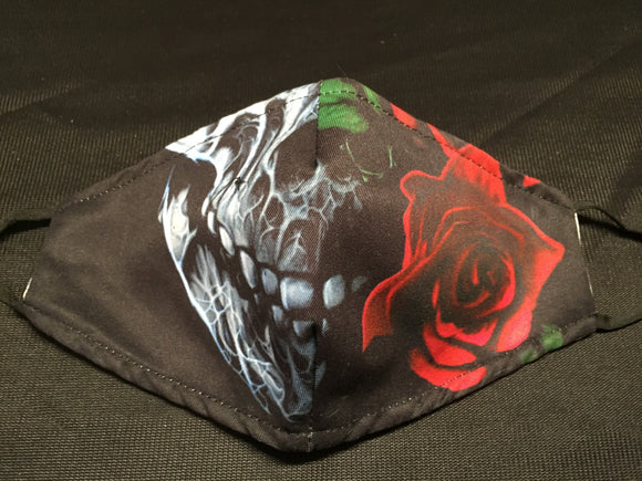 Mask - Black - Skull with Rose - M - Avothea Store