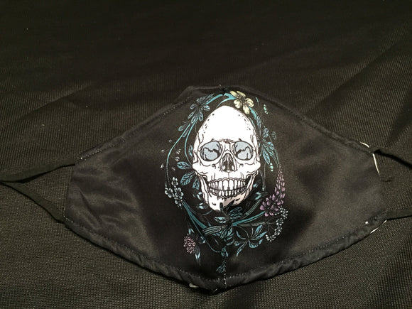 Mask - Black - Skull with Flowers - M - Avothea Store