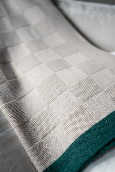 BUSSOLA BEIGE/GREEN FOREST - PLAID CASHMERE & WOOL