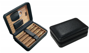 4-8 Count Leather Travel Humidor w/Cutter & Lighter - Black - AME Cigars