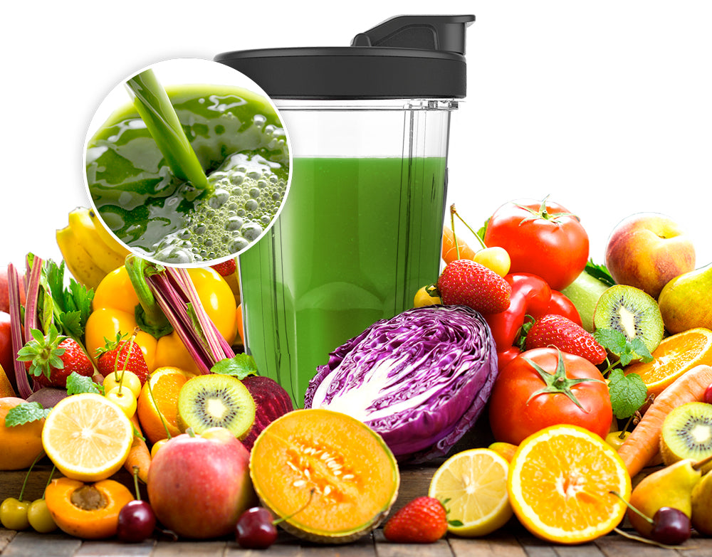 fruit and vegetable juice in blender cup