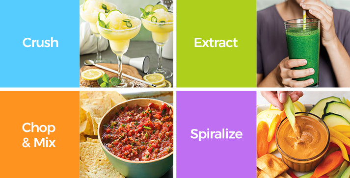 crush, extract, chop and mix, spiralize