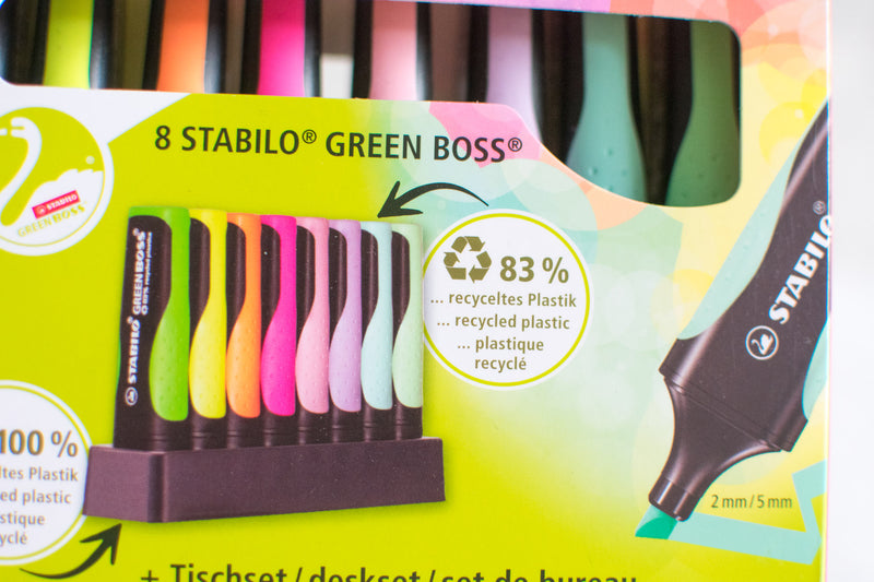STABILO GREEN BOSS ORIGINAL 8 Textmarker im Tisch Set