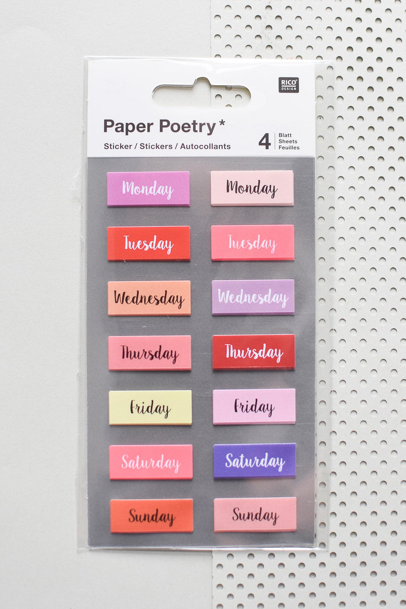 Paper Poetry Bullet Journal Wochentage Sticker