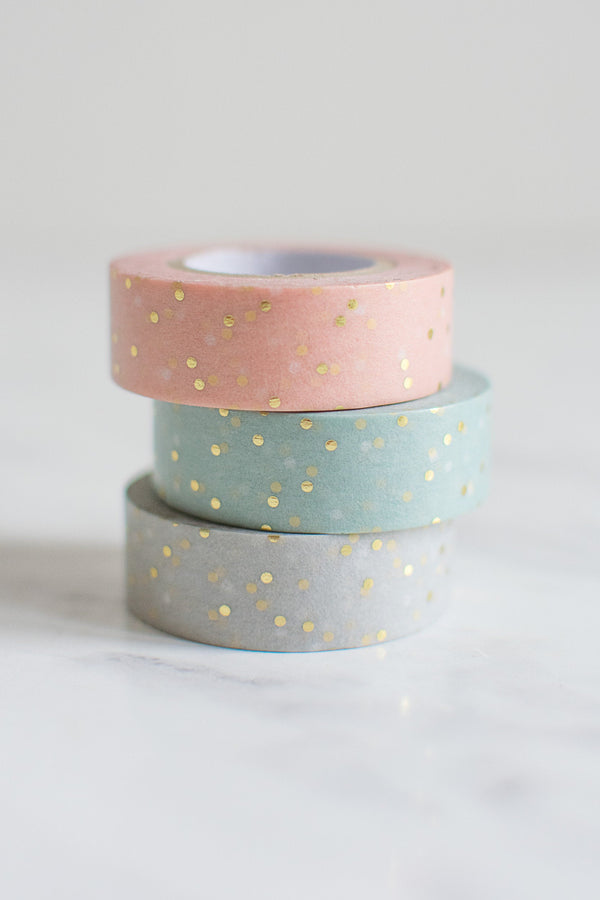Gold Gepunktetes Washi Tape Set in Pastellfarben Masking Tape Klebeband