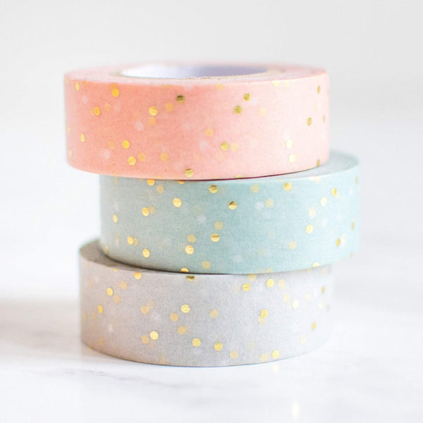 3x Gold Gepunktetes Washi Tape in Pastellfarben