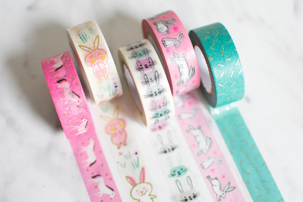 5x Paper Poetry Washi Tape Set Häschenmotiv