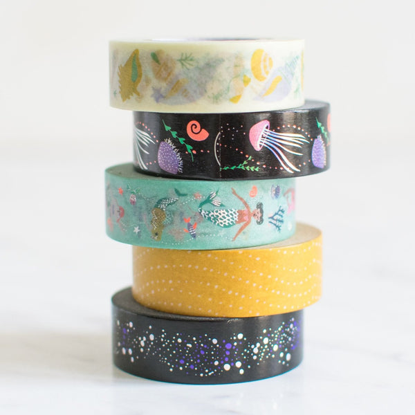 Washi Tape Set 'Mermaids' mit Quallen & Meerjungfrauen Masking Tape