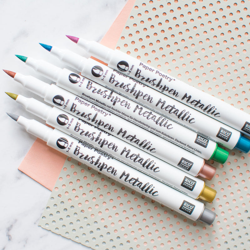 Paper Poetry Brush Pens Set Metallics